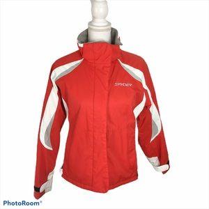 Spyder Red White Full Zip Hard Shell Jacket Sz 8